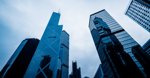 Low angle view of skyscrapers in Hong Kong Stock Photography