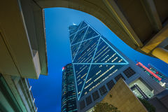 Low angle view of skyscrapers in Hong Kong Royalty Free Stock Images