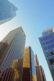 Low angle view of skyscrapers in New York Stock Photography
