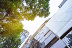 Low angle view of skyscrapers in Shenzhen Stock Photos