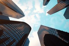 Low angle view of skyscrapers. Skyscrapers at sunset looking up perspective. Bottom view of modern skyscrapers in Stock Photo