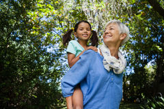 Low angle view of smiling grandmother giving piggyback to granddaughter against trees. At backyard Stock Photos