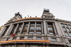 Low angle view of Spanish classic office building in Madrid Stock Photography