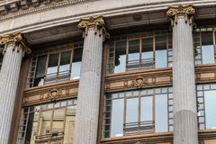 Low angle view of Spanish classic office building in Madrid Stock Photo