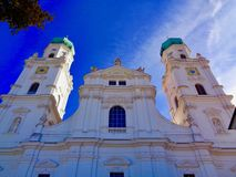 Low-angle view of St. Stephen`s Cathedral, Passau, Germany stock photos