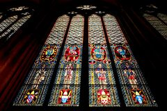 Low Angle View of Stained Glass Window Stock Photos