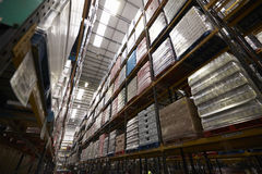 Low angle view of stock stored in a distribution warehouse Stock Photography