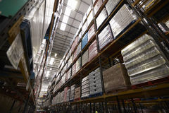Low angle view of stock stored in a distribution warehouse Royalty Free Stock Photography