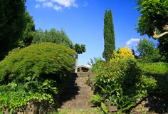 Low angle view on stone steps in german garden with two levels and green trees against blue sky - Germany stock images