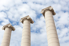 Low angle view of three Ionic columns, Barcelona Royalty Free Stock Photography