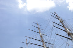 Low angle view of three masted ship against sky Stock Images