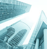 Low angle view to blue skyscraprs Royalty Free Stock Photography