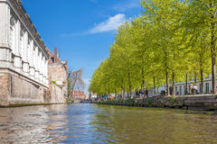 Low angle view on to the canal of Bruges Stock Image