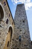 Low angle view of a tower in the medieval town of San Gimignano Royalty Free Stock Images