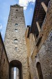 Low angle view of a tower in the medieval town of San Gimignano Stock Images