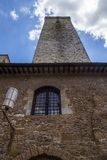 Low angle view of a tower in the medieval town of San Gimignano Royalty Free Stock Image