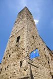 Low angle view of a tower in the medieval town of San Gimignano Stock Image