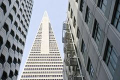 Low angle view of the Transamerica Pyramid San Francisco designed by William Pereira Stock Photos