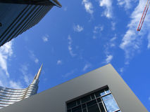 Low angle view of Unicredit Tower. And some buildings around Stock Photo