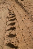 Low angle view vertical CU muddy jungle road with knobbed tire tracks heading straight Royalty Free Stock Images