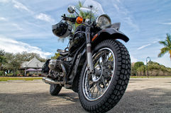 Low angle view of vintage motorcycle Royalty Free Stock Images