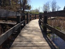 Low angle view of a walkway bridge over water. At a park Stock Images