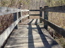 Low angle view of a walkway bridge over water. Wooden bridge ends in the brush Royalty Free Stock Photo