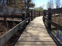 Low angle view of a walkway bridge over water. Wooden walkway bridge leading over a pond in the park Stock Photos