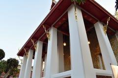 Low angle view of white thai chapel at Wat Arun Bangkok stock photos
