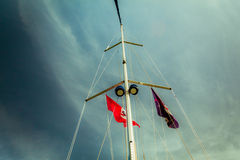 Low angle view of yacht sails Stock Photos