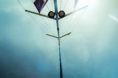 Low angle view of yacht sails Stock Images