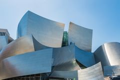 Low-angle of Walt Disney Concert Hall against sky stock image