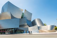 Low-angle of Walt Disney Concert Hall against sky stock photography
