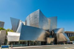 Low-angle of Walt Disney Concert Hall against sky royalty free stock images