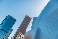 Low-angle of Walt Disney Concert Hall against sky stock images