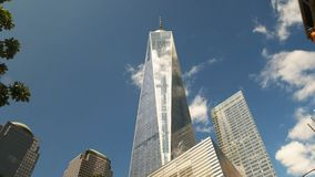 Low angle wide view of One World Trade Center in New York stock footage