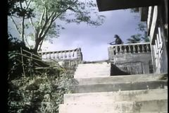Low anlge view of soldiers battling on staircase stock video footage