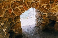 The low arch is an unexpected obstacle to the old shipyard in Alanya Castle Alanya, Turkey.  Stock Images