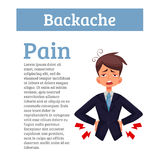 Low back pain in men, black and color cartoon Stock Photos