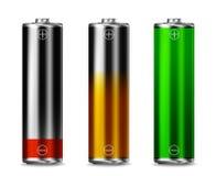 Low batt - Charging - full batt. Low, charging and full battery power energy level symbols vector illustration