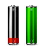 Low batt - full batt. Low battery and full battery charge power level symbols royalty free illustration
