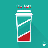 Low battery coffee cup, flat design, vector Stock Photos