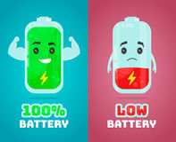 Low battery and full power battery vector flat cartoon character illustration. Energy charge. Concept vector illustration