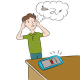Low Battery Phone. An image of a man who forgot his phone charger royalty free illustration