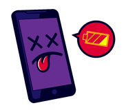 Low battery smartphone needs recharge, phone battery life Stock Images