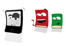 Low Battery Tablet and Books Making Fun of Him Royalty Free Stock Images