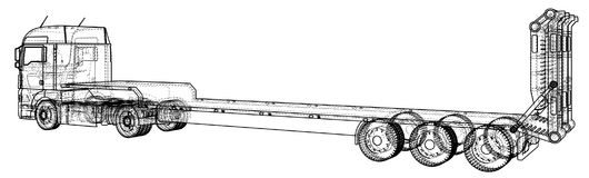Low bed Truck Trailer. Abstract drawing. Tracing illustration of 3d Royalty Free Stock Images