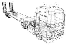 Low bed Truck Trailer. Abstract drawing. Tracing illustration of 3d Stock Image