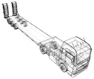 Low bed Truck Trailer. Abstract drawing. Wire-frame. EPS10 format. Vector created of 3d.  Stock Photography