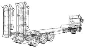 Low bed Truck Trailer. Abstract drawing. Wire-frame. EPS10 format. Vector created of 3d.  Royalty Free Stock Photo